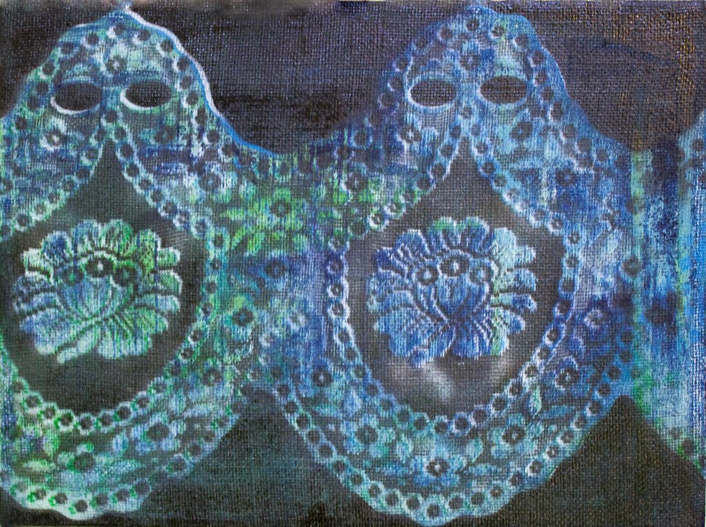 ARTEMIA NYOS 1 - ACRYLIC AND PRUSSIAN BLUE ON BURLAP - 16 X 12 - $60